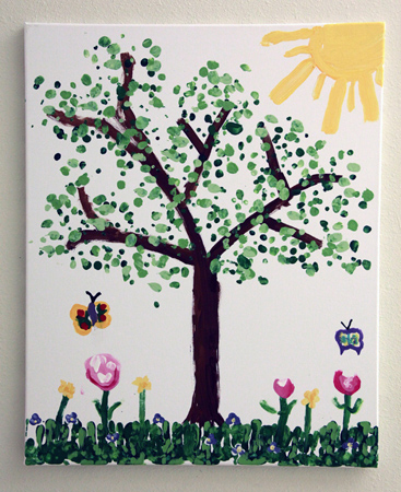 Child's painting of a tree, flowers, and butterflies