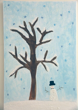 Child's painting of a snowman and tree, with snowflakes falling