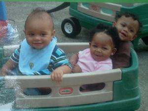 My son Qumari is in the back of the wagon! they were having a little outdoor time in the nice weather.